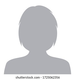 Female default avatar profile icon. Woman face silhouette person placeholder. Vector illustration.