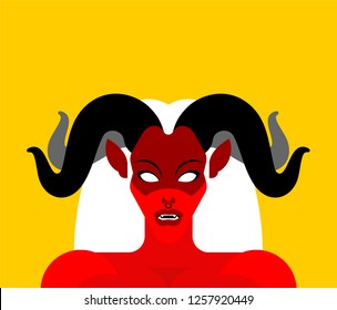 Female demon with horns face. Woman devil. Succubus red. lady satan. Vector illustration