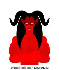 Female demon with horns face. Woman devil. Succubus red. lady satan. Vector illustration