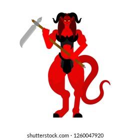 Female demon Warrior with scythe. Strong Woman devil. berserk Succubus red. lady satan. Hell warriors. Vector illustration