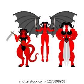Female demon Warrior set. Three Succubus berserk. Strong Woman devil.  lady satan. Hell warriors. Vector illustration