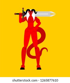 Female demon Warrior. Strong Woman devil. berserk Succubus red. lady satan. Hell warriors. Vector illustration
