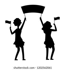 Female demonstrations silhouette. Protest, parade, demonstration vector illustration. Female demonstration and protest, black silhouette protesting with flag