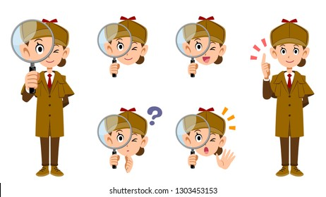 Female detective's whole body and facial expression set