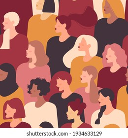 Female diverse faces of different ethnicity. Vector seamless drawing with women of different nationalities and cultures. Women's struggle for freedom, independence, equality.