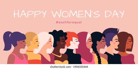 Female diverse faces profile, different ethnicity and hairstyle. Vector illustration. Woman empowerment movement banner or poster. Happy International Women's day, 8 March graphic icons design - Shutterstock ID 1904335444