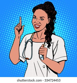 Female doctor of African. The adult doctor the therapist smiles. The profession of medicine and health pop art retro style