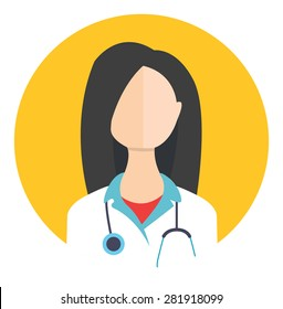 Female doctor avatar icon with a faceless woman with flat design element. Modern style logo vector illustration concept. Isolated on white background. First aid, diagnostic