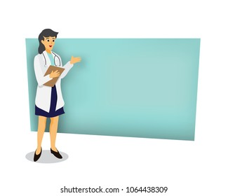 The female doctor, cartoon.