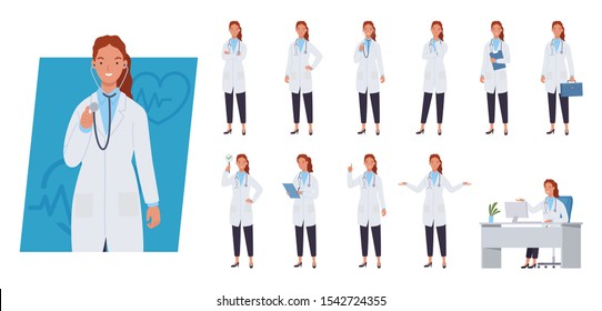 Female doctor character set. Different poses and emotions. Vector illustration in a flat style
