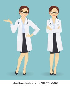 Female doctor in different poses on blue background. Standing arms crossed and showing looking up
