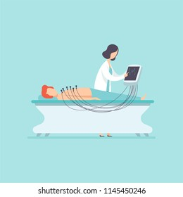 Female doctor examining patient with electrocardiograph machine, medical treatment and healthcare concept vector Illustration