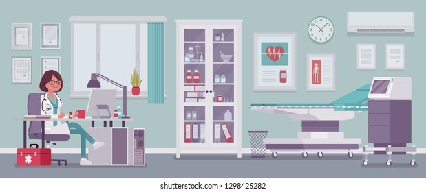 Female doctor in general practitioner office interior. Hospital examination room with medical facility, clinic practice to receive and treat patients. Medicine, healthcare concept. Vector illustration