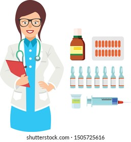 Female doctor holding a blank clipboard icon Template Design. A friendly young woman doctor icon. vector flat icons cartoon design eps10 illustration
