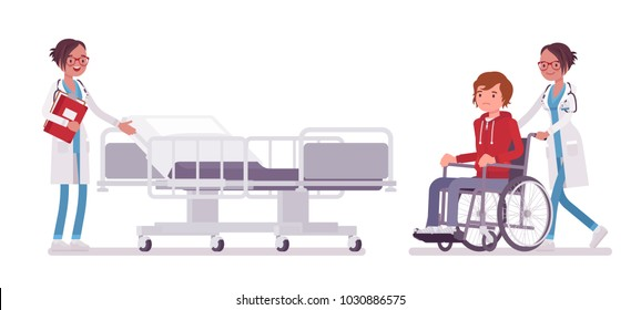 Female doctor and hospitalized patient. Woman in hospital uniform admitting wheelchair man in clinic. Medicine and healthcare concept. Vector flat style cartoon illustration isolated, white background