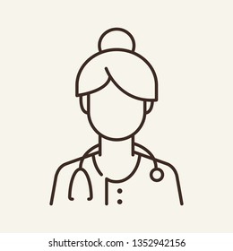 Female doctor line icon. General practitioner, physician, job. Medicine concept. Can be used for topics like therapy, hospital, clinic