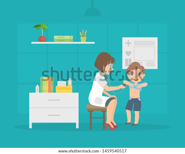 Female Doctor Listening to Chest of Boy with Stethoscope, Pediatrician Consulting Patient in Medical Office Vector Illustration