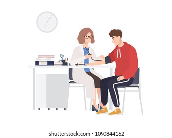 Female doctor or medical adviser sits at desk and measures blood pressure of male patient. Man at physician s office, cardiology clinic or hospital. Colorful cartoon vector illustration in flat style