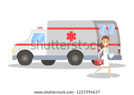 Female doctor running in front of ambulance car. Emergency vehicle and medical professional with first aid kit. Vector flat illustration