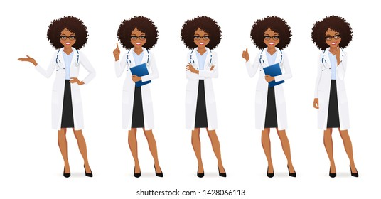 Female doctor set in different poses isolated vector illustartion
