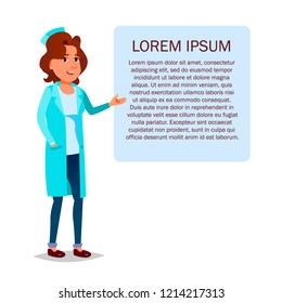 Female doctor standing next to a tablet with health advice or a recipe. Cartoon medic woman character on the background of the drawing Lorem Ipsum