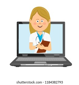 Female doctor with stethoscope and clipboard having consultation online on laptop