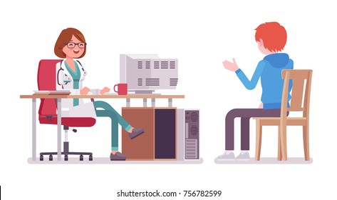 Female doctor therapist consulting patient. Physician woman in hospital uniform accepting at desk. Medicine and healthcare concept. Vector flat style cartoon illustration isolated, white background
