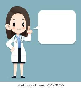 Female Doctor tiny character blank talk balloon, Vector Illustrator