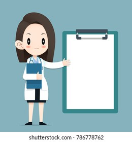 Female doctor tiny character health tips report, Blank clipboard, Vector Illustrator