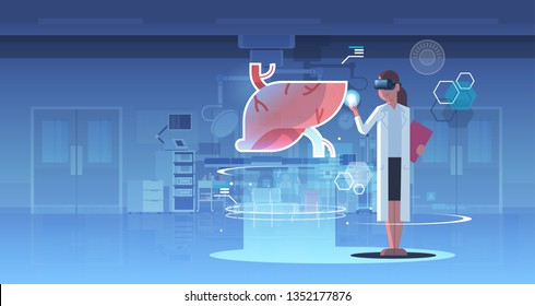female doctor wearing digital glasses looking virtual reality liver human organ anatomy healthcare medical vr headset vision concept operation room interior full length horizontal