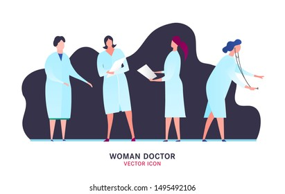 Female doctors icons set. Characters for web design. Professional practitioner collection. Editable vector illustration in bright colors. Medical, healthcare concept. Graphic design. Cartoon style