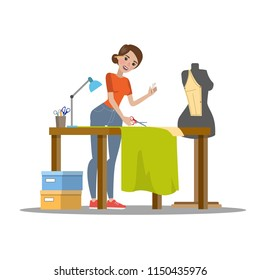 Female dressmaker cutting cloth with scissors. Tailor sewing green dress for a young lady. Working in atelier. Isolated flat vector illustration