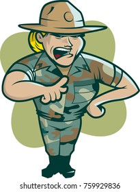 Female drill instructor vector