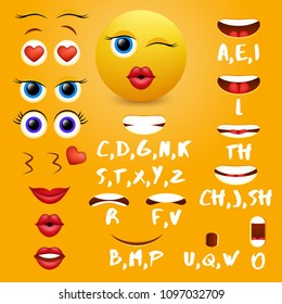 Female emoji mouth animation vector design elements. Lip sync mouth shapes for animation and eyes, eyebrows, lips for cool smiley creation.