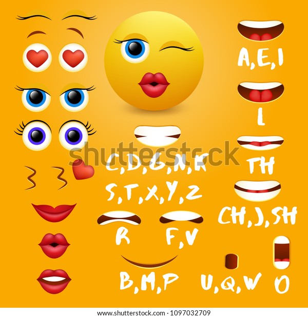 Female Emoji Mouth Animation Vector Design Stock Vector Royalty Free 1097032709