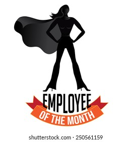 Female employee of the month isolated on white EPS 10 vector royalty free stock illustration perfect for promotion, ads, marketing, poster, motivation, awards, meetings, infographic, trade show