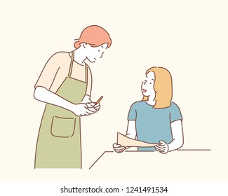A female employee is ordering food from the restaurant in the restaurant. hand drawn style vector design illustrations.