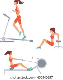 Female exercising at rowing, running machine in gym. Woman gym workout set. Vector illustration.