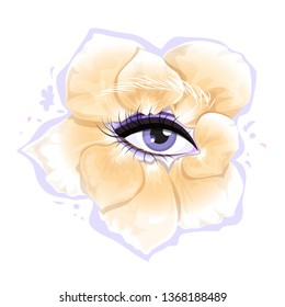 Female eye decorated with rose petals. Isolated vector illustration.
