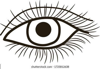 Female eye with eyelashes drawn in one line, vector linear graphics.