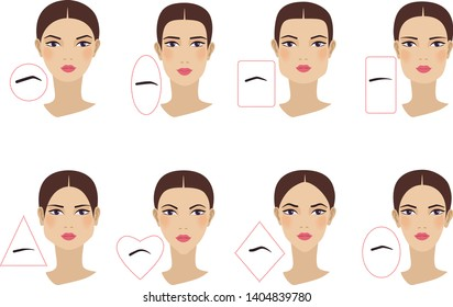 Female eyebrow shapes in accordance with the shape of the face. Flat design. Vector illustration