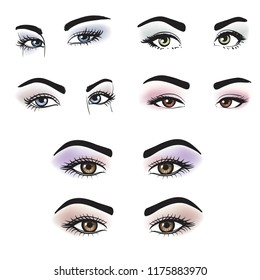 Female eyes of different colors with makeup. Set of Lovely girl's eyes friendly look