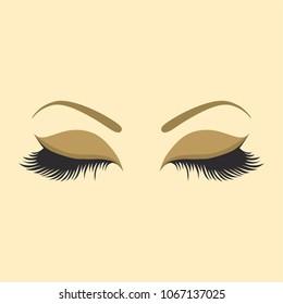 Female eyes with eyebrows - beautiful eyes with long eyelashes. Beauty logo