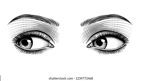 Female eyes looking away. Vintage engraving stylized drawing. Vector illustration