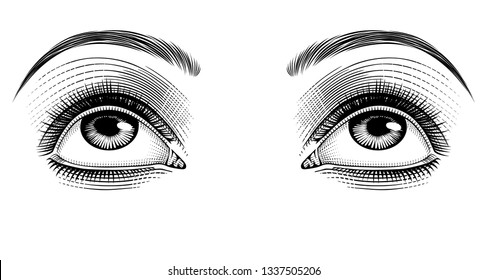 Female eyes looking up. Vintage engraving stylized drawing. Vector illustration
