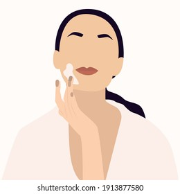 Female face and beauty cosmetic mask. Beautiful young woman applying cream. Skin care banner. Face mask, skincare, treatment, relaxation. Self-care concept. Stock vector illustration