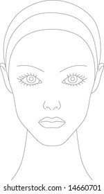Female face chart for makeup artists