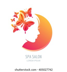 Female face in circle shape. Woman with butterflies in hair. Vector beauty floral logo, sign, label design elements. Trendy concept for beauty salon, massage, spa, natural cosmetics.