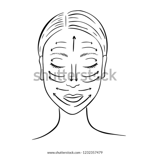 Female Face Lymphatic Drainage Massage Lines Stock Vector