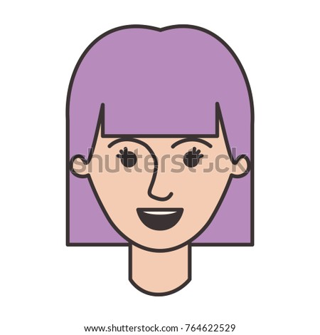 Female Face Mushroom Hairstyle Colorful Silhouette Stock Vector